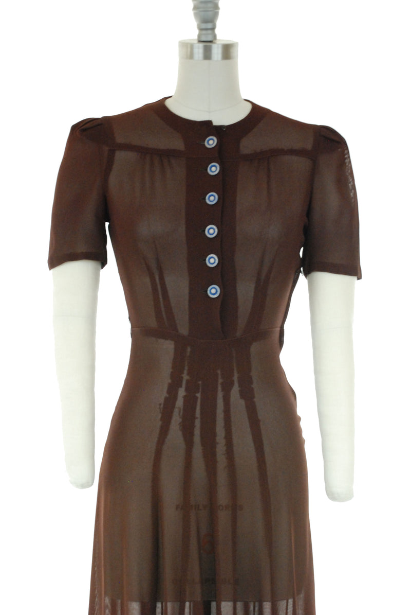 Sheer 1940s Day Dress in Chocolate Brown Mesh with Cute Buttons