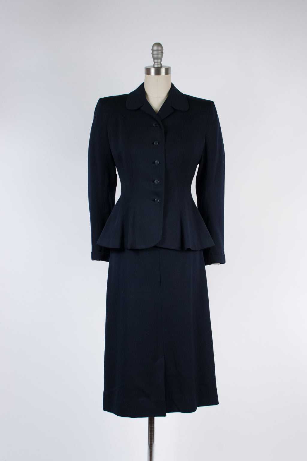 Timeless 1940s Tailored Suit of Navy Blue Gabardine with Flared Jacket
