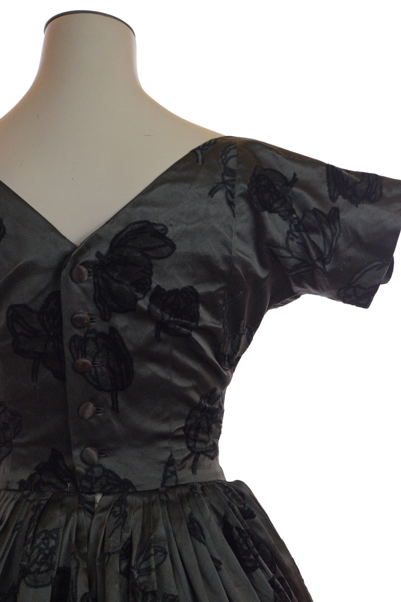Luxurious 1950s Silk Cocktail Dress with Printed Velvet Damask by Traina-Norell AS IS