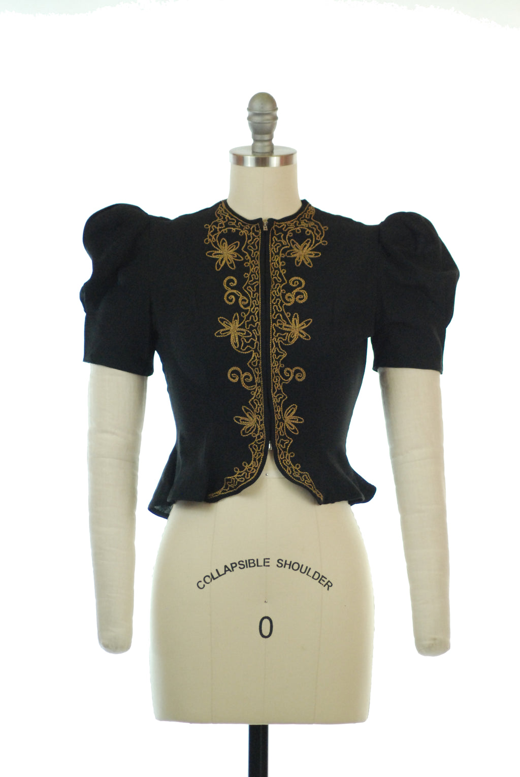 Phenomenal 1930s Puffed Sleeve Black Zip Front Blouse with Golden Soutache