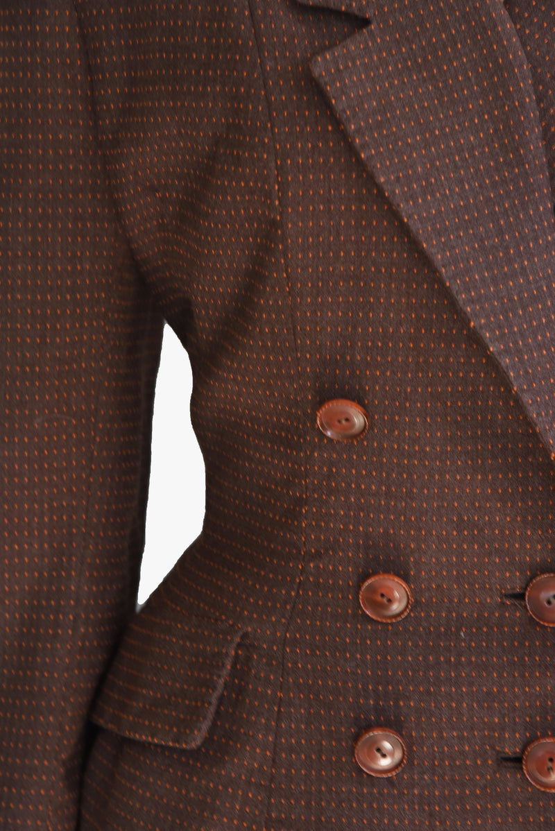 Chic 1940s Double-breasted Menswear inspired Dark Brown Suit