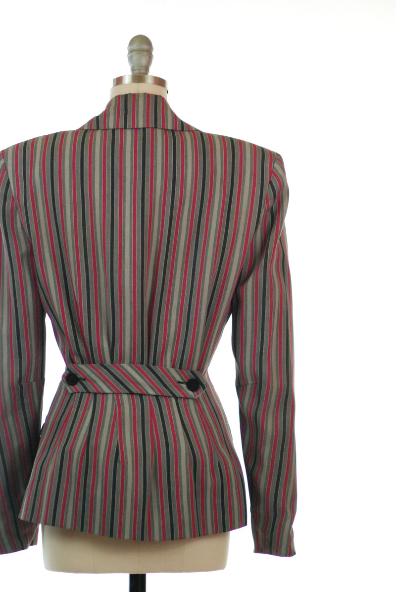 Fantastic 1940s Back Belted Suit Jacket in Bold Stripes
