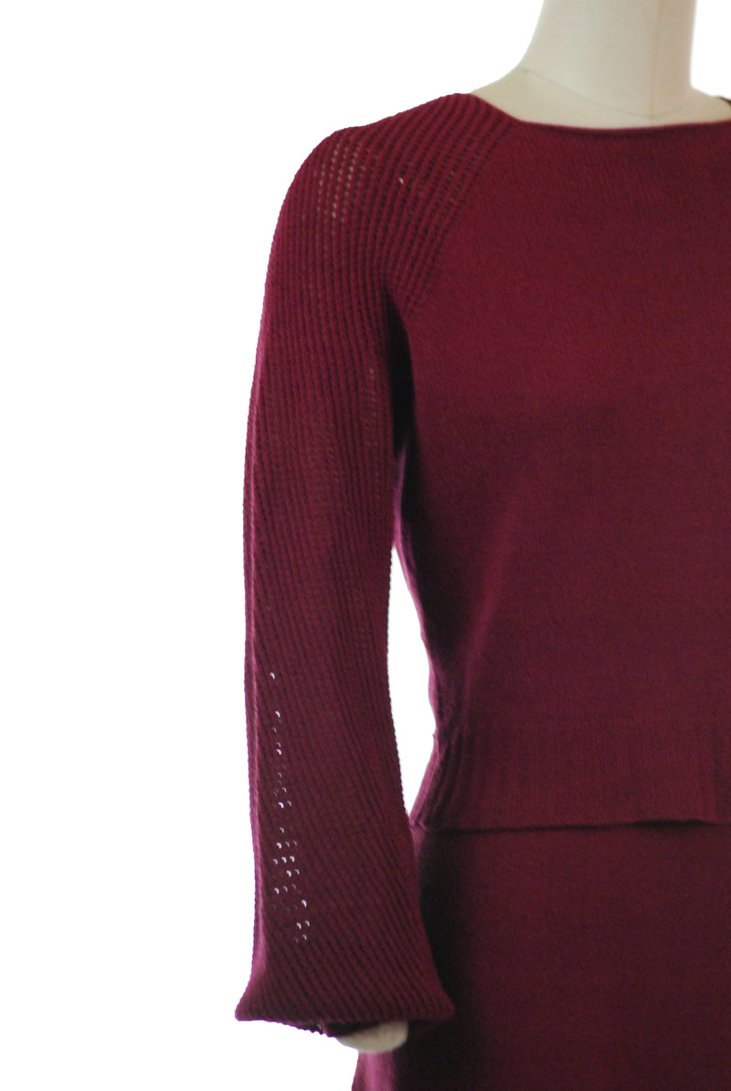 Beautiful Wine Red 1930s Knit Sweater Set with Open Knit Sleeves