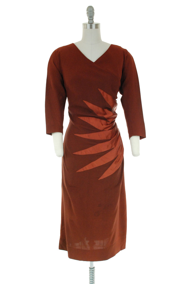 Stunning 1950s Eisenberg Originals Sunburst Cocktail dress in Mocha Rayon and Copper Satin