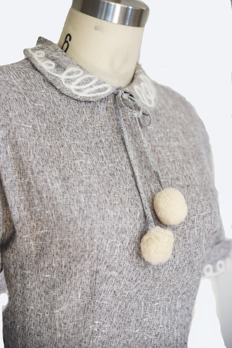 Charming 1950s Linen Winter-Time Gray Dress with Pompoms