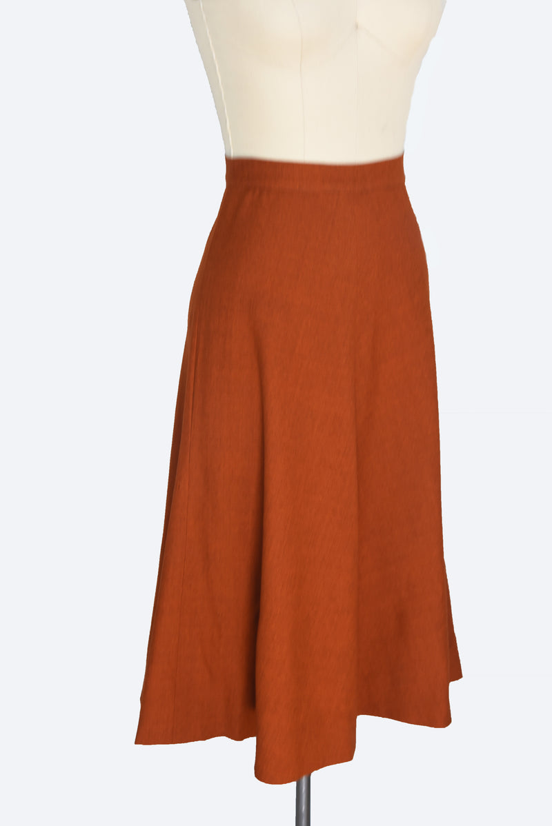Gorgeous 1940s Burnt Orange Wool A Line Skirt