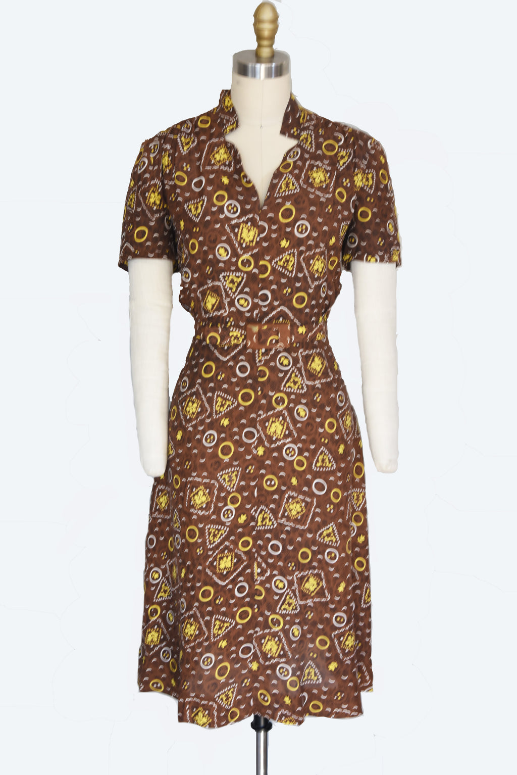 Smart 1940s Cold Rayon Leaf Print Dress in Brown, White and Yellow