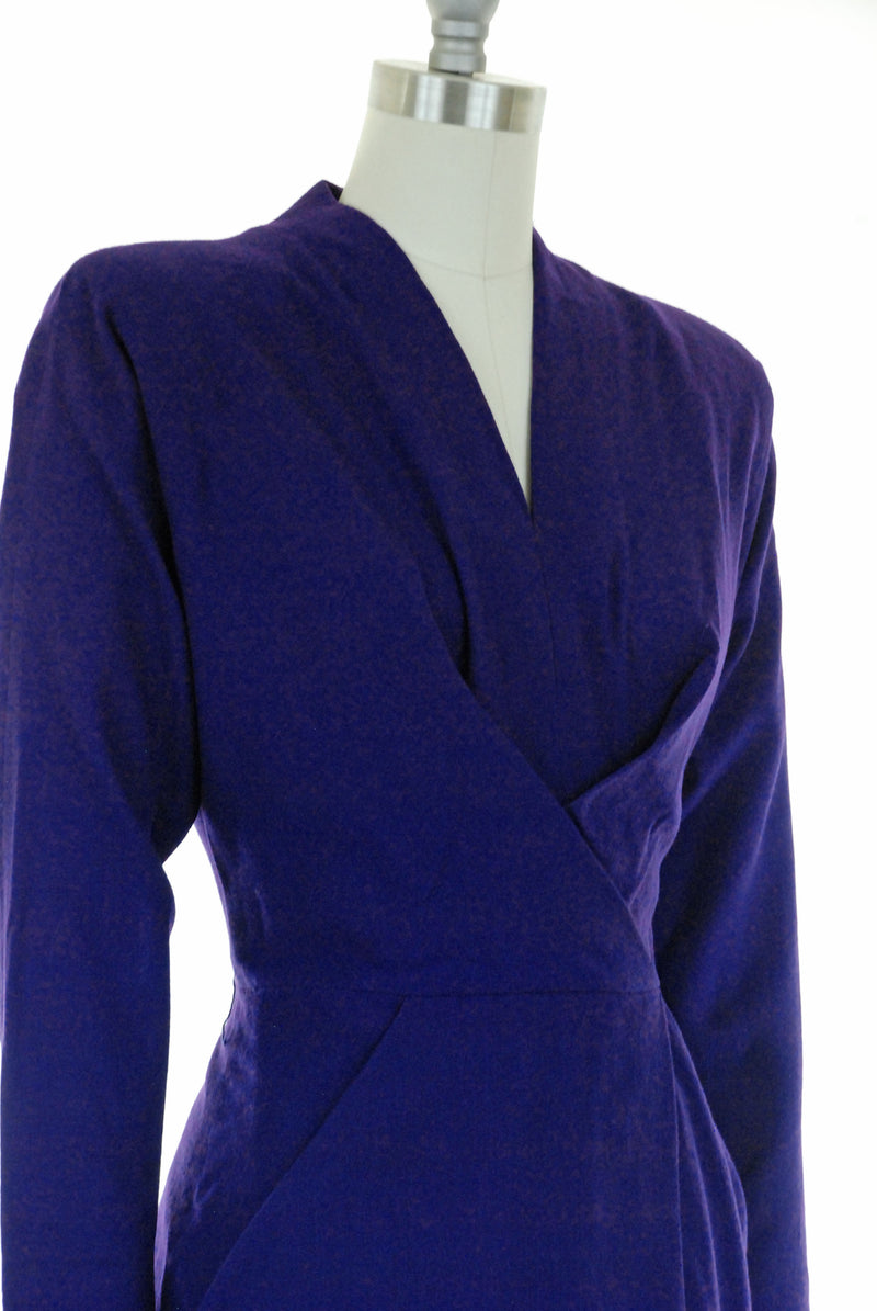 Gorgeous 1950s Dorothy O'Hara in Deep Royal Purple Wool