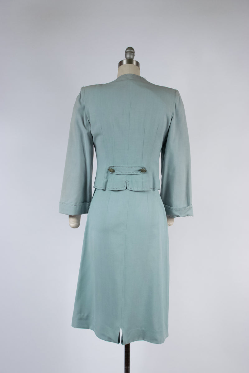Jaunty 1940s Junior's Style Shoot in Aqua Blue with Brown Top-Stitching