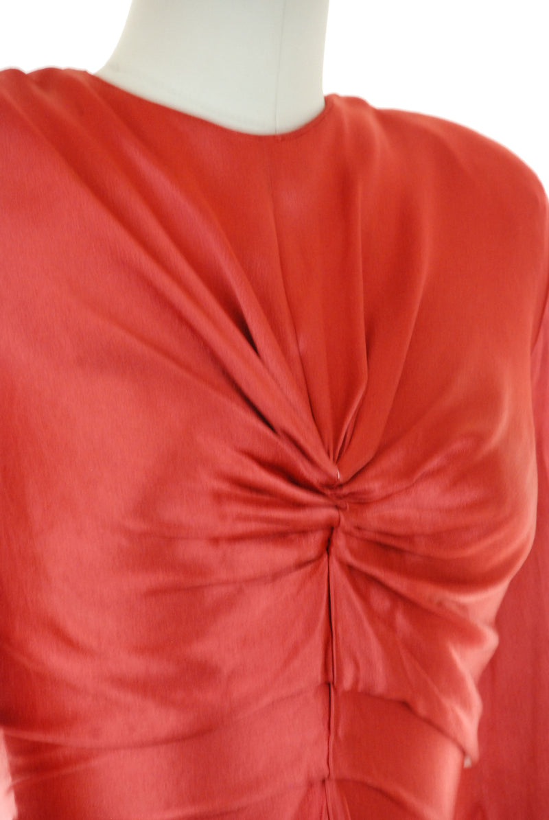 Incredible Draped 1940s Charmeuse Satin Cocktail Dress in Pink-Red