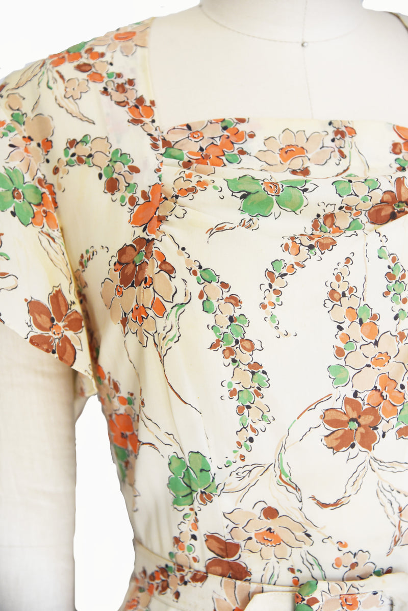 RESERVED Autumnal 1940s Bemberg Rayon Dress with Floral Print and Matching Belt