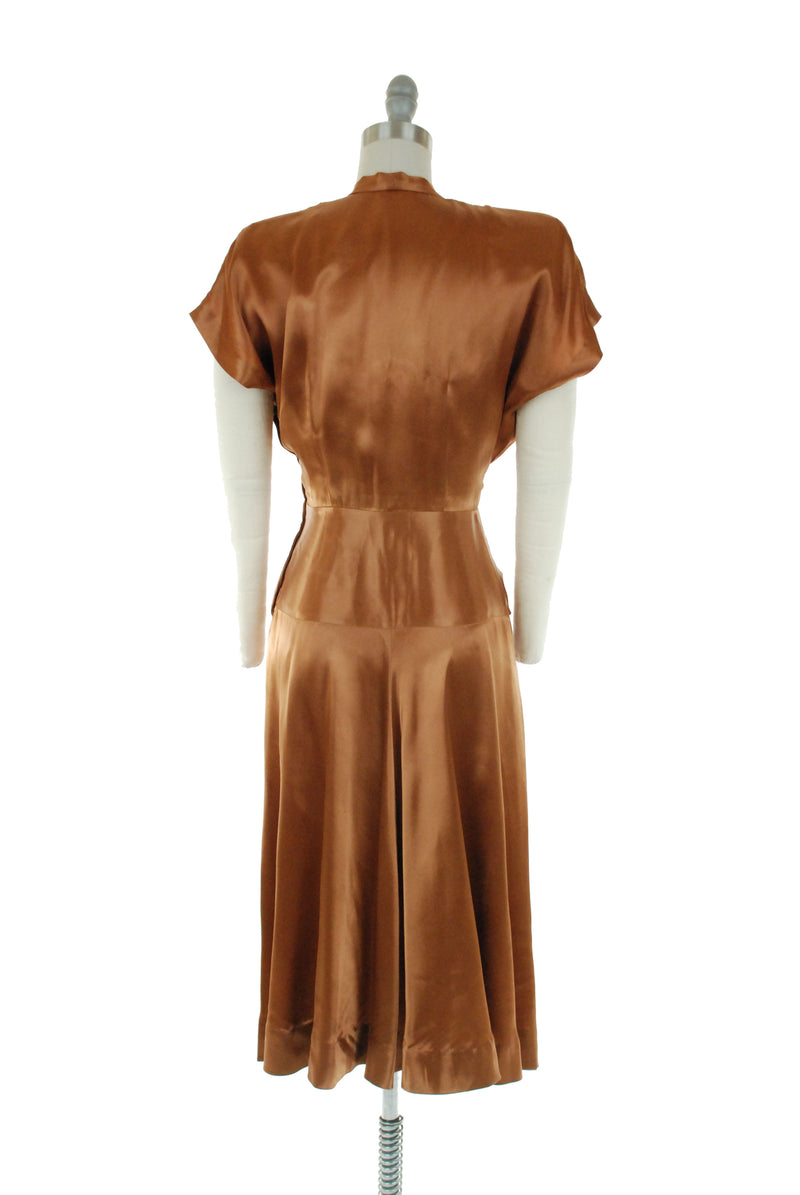 1940s Cocktail Dress in Liquid Rayon Charmeuse Satin with Twist Draping by Max Kopp