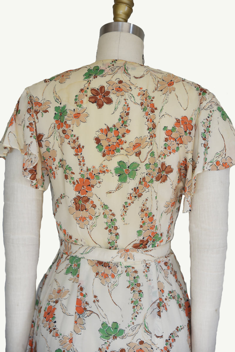 Layaway Deposit for Autumnal 1940s Bemberg Rayon Dress with Floral Print and Matching Belt