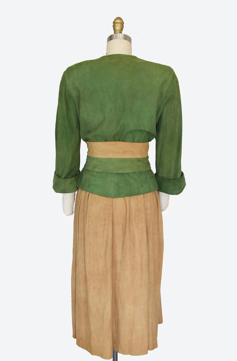 Fantastic 1940s Suede Green and Light Honey Brown Suit
