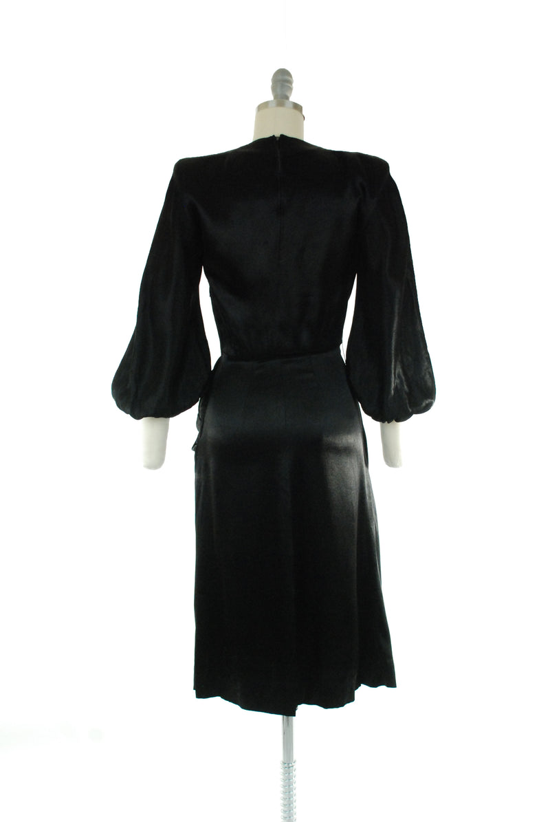 Deadly 1940s Femme Fatale Draped Satin Charmeuse Cocktail Dress with Bishop Sleeves by Hansen Bang, Numbered