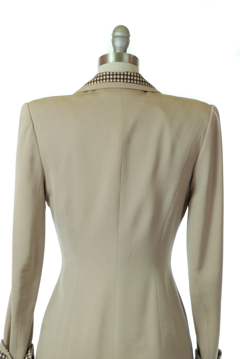 Gorgeous 1940s Lilli Ann Beige Gabardine Suit with Checked Collar and Cuffs