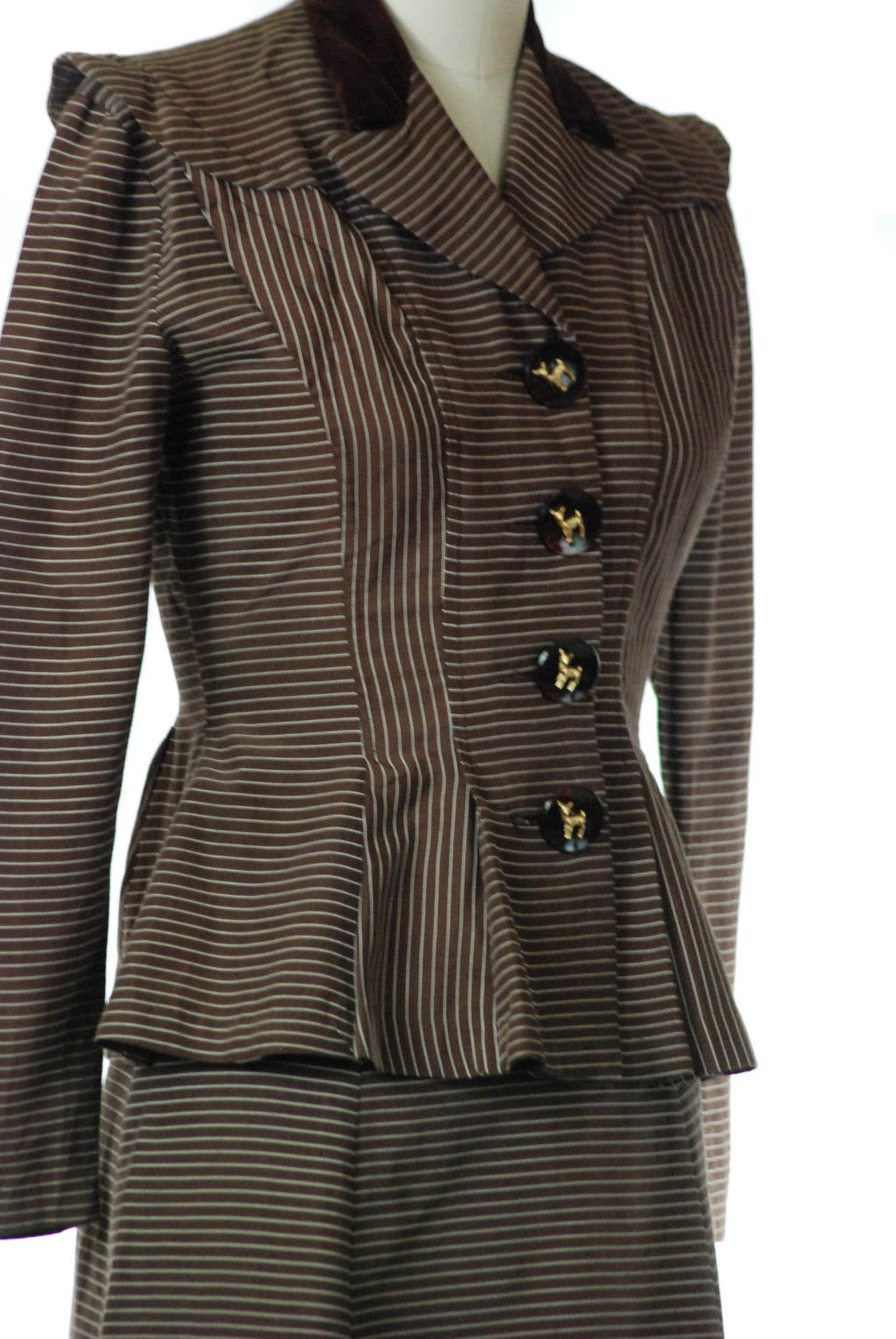 Charming 1930s Dark Brown Striped Suit with Deer Buttons