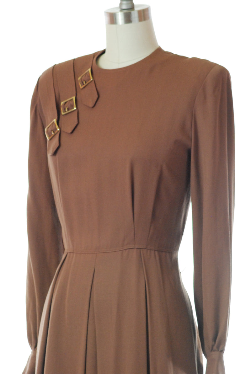 Smart 1940s Umber Brown Gabardine Buckle Dress