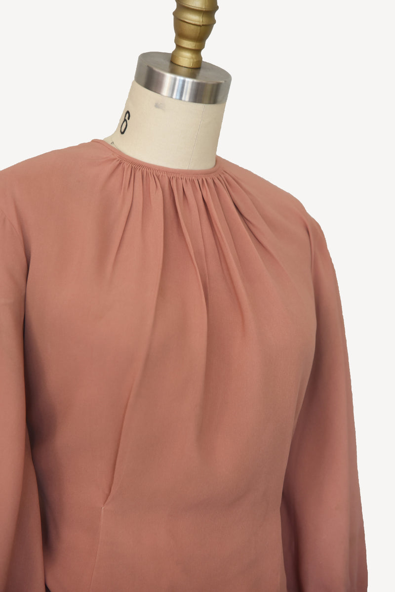 Gorgeous 1930s Dusty Rose Lantern Sleeve Blouse with Gathered Neck