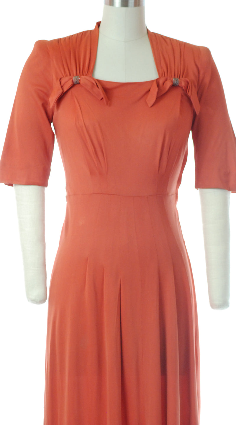 1940s Rayon Jersey Coral Dress with Beaded Bows