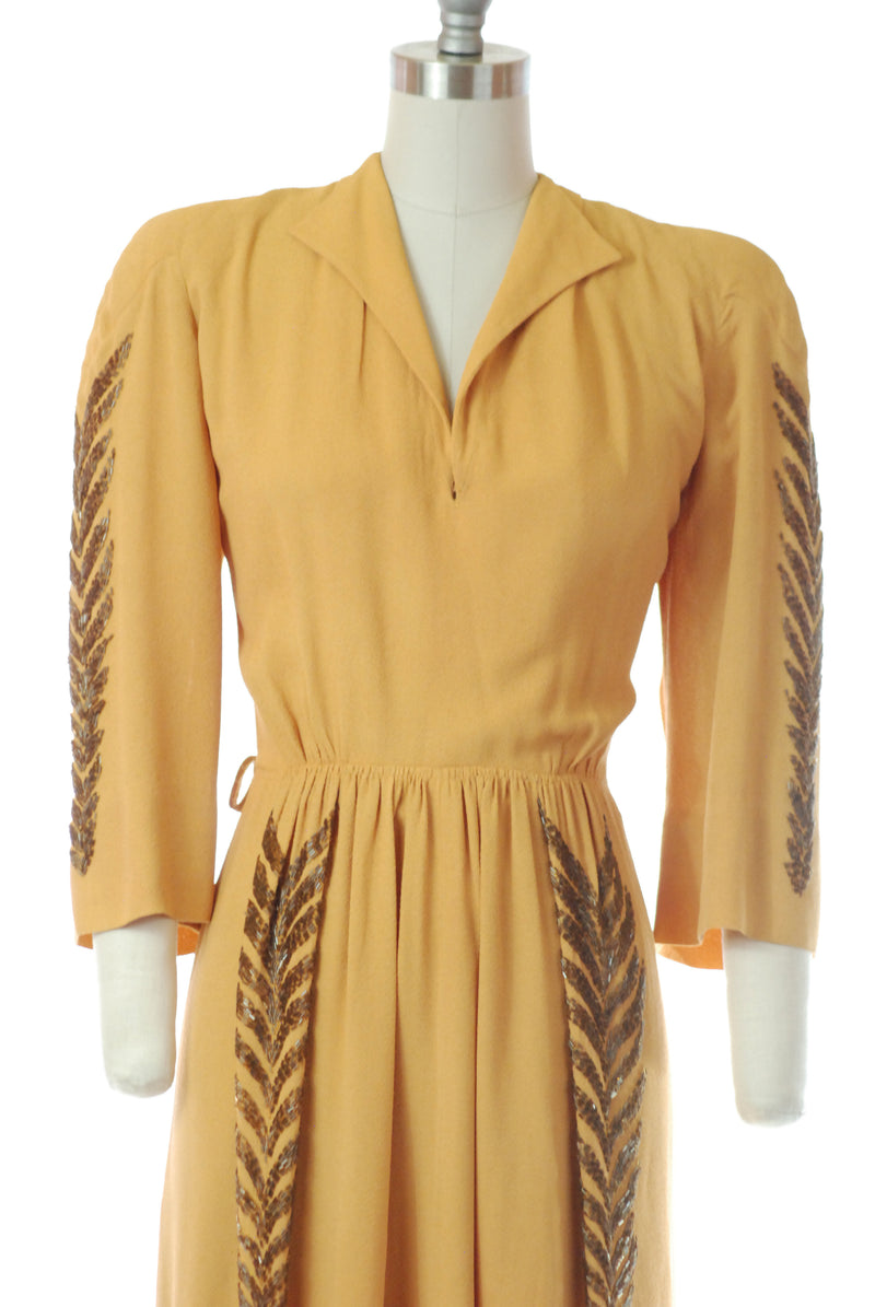 1940s Marigold Crepe Dress with Wheat Inspired Beading