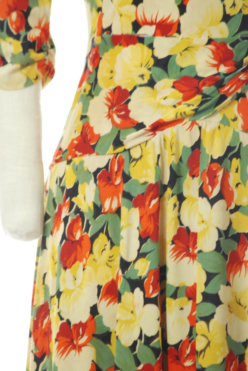 1940s Rayon Jersey Floral Print Dress in Yellow, Green, and Red