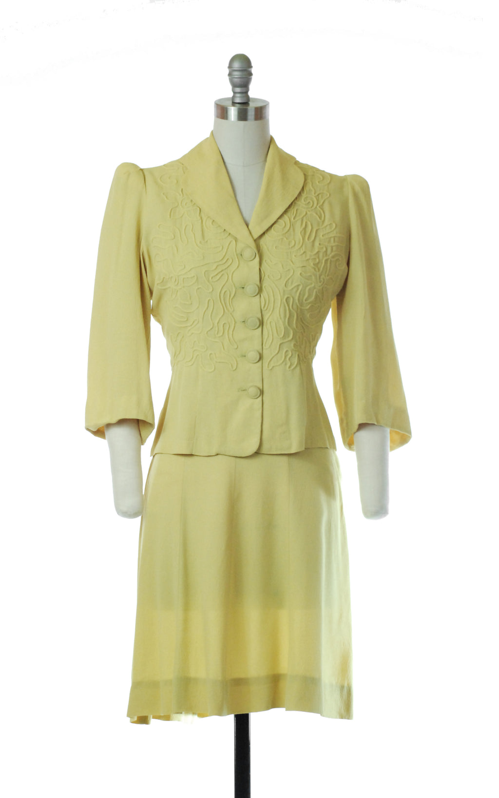 Flirty 1930s Sunny Yellow Set with Trapunto Bodice and Puffed Sleeves