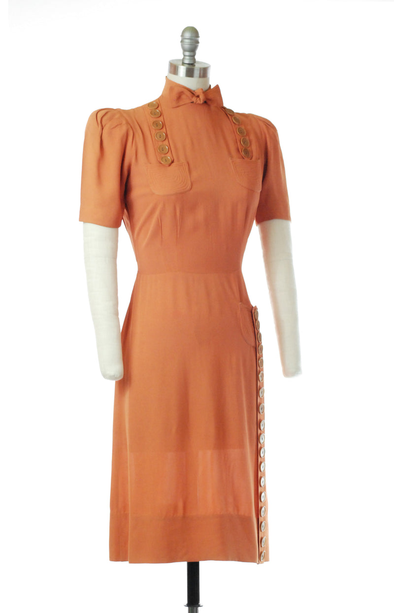 Lovely 1930s Muted Pumpkin Dress with Button Details