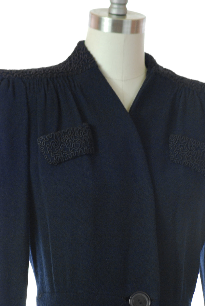 Luxurious Late 1930s Navy Blue  Wool Coat with Soutache Pockets