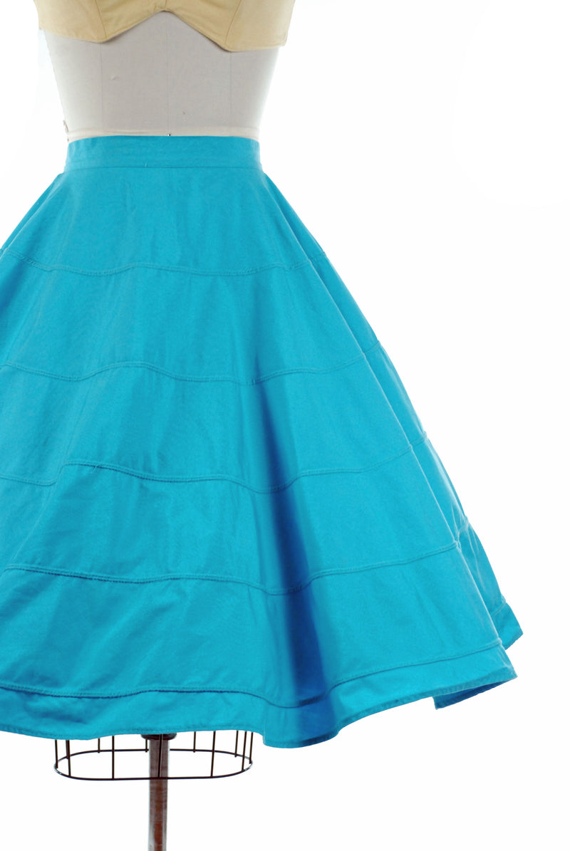 Vintage 1950s Bright Turquoise Blue Circle Cotton Skirt with Piping Bands