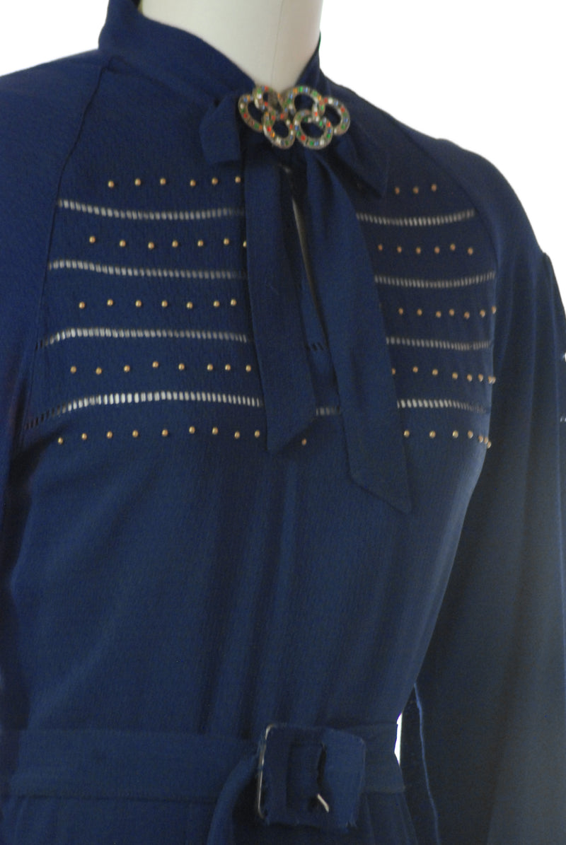 SOLD on layaway - Stunning 1930s Navy Blue Studded Day Dress with Belled Sleeves