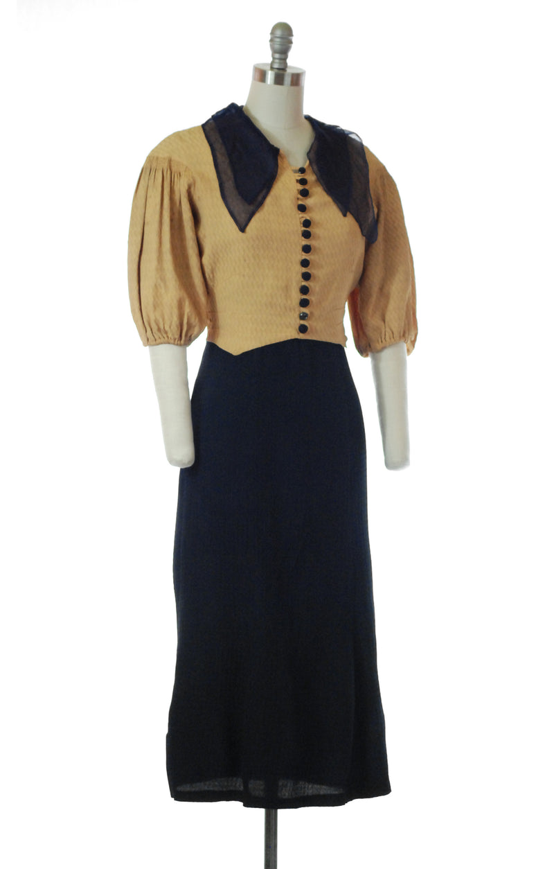 Charming 1930s Dobby Celanese Muted Marigold and Navy Blue Day Dress