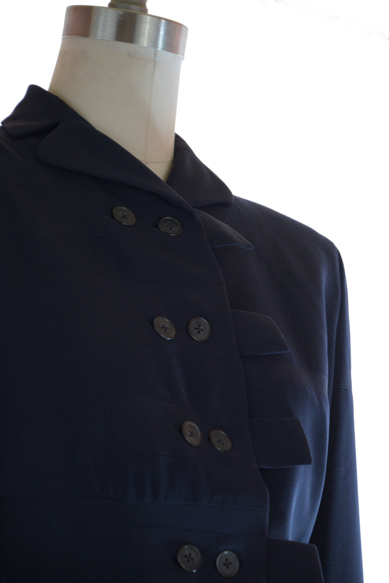 Gorgeous 1940s ADRIAN Tailored Suit in Navy Blue Wool Gabardine with Self-Fabric Insets and