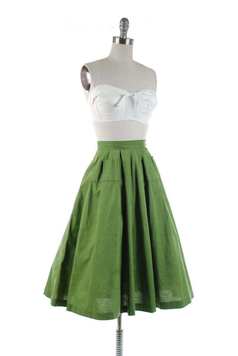 Vintage 1950s Avocado Green Cotton Casual Skirt with Pocket