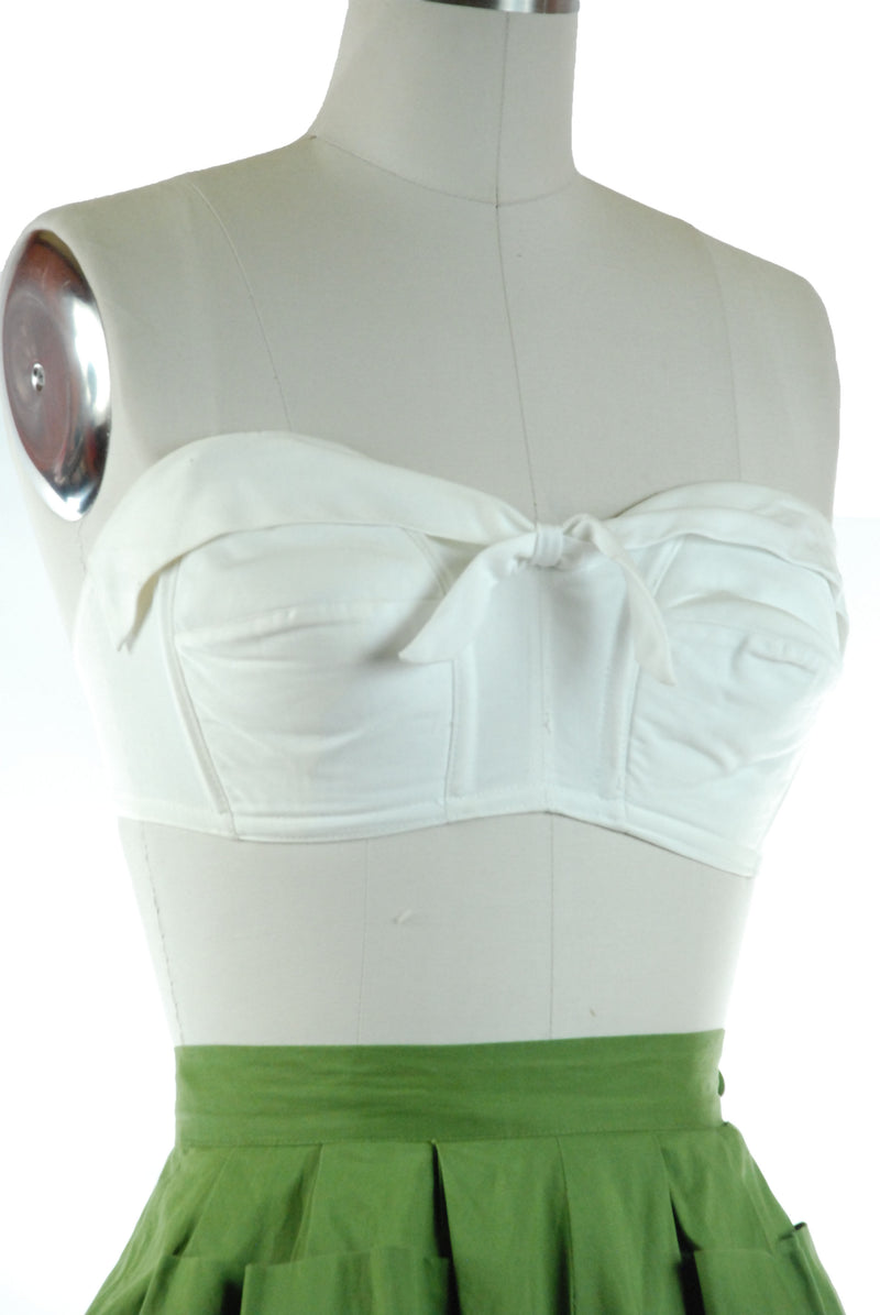 Quintessential 1950s Top-Her Solid White Cotton Strapless Bra Summer Top