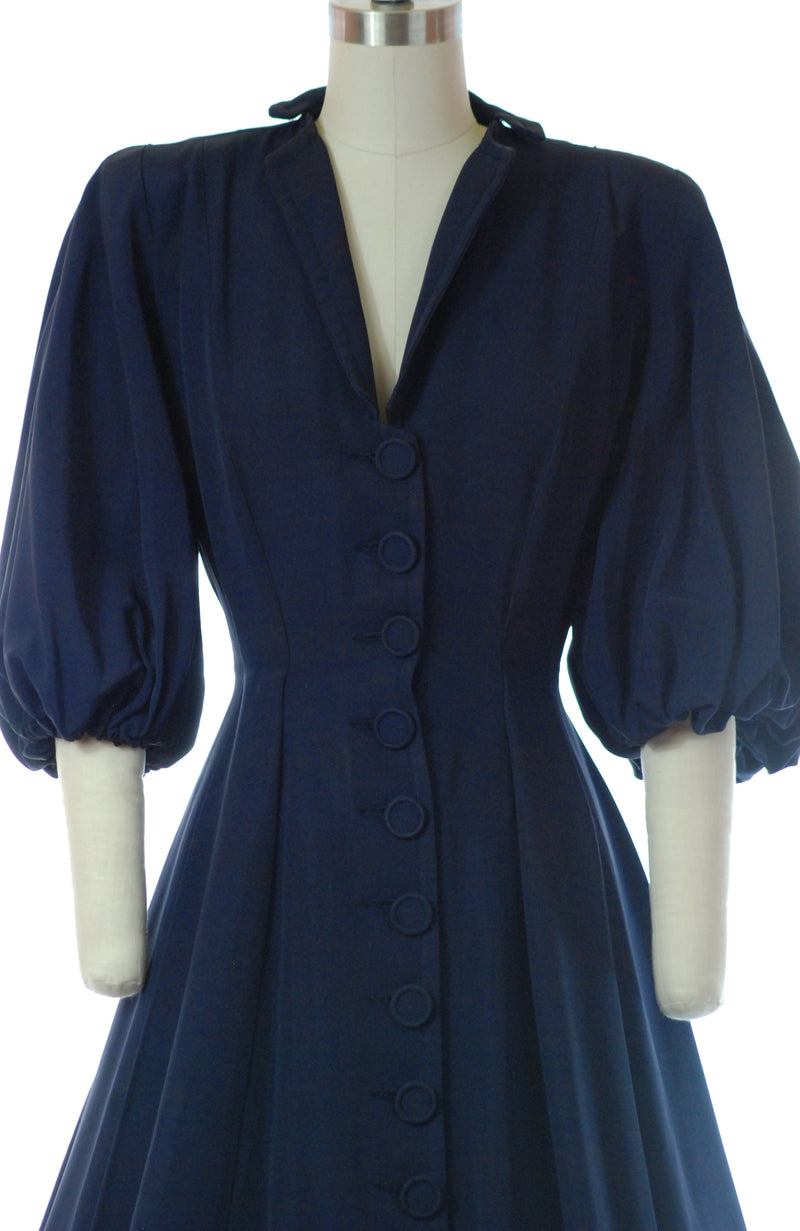 Elegant Late 1940s New Look Rayon Faille Navy Blue Coat Dress with Belled Sleeves