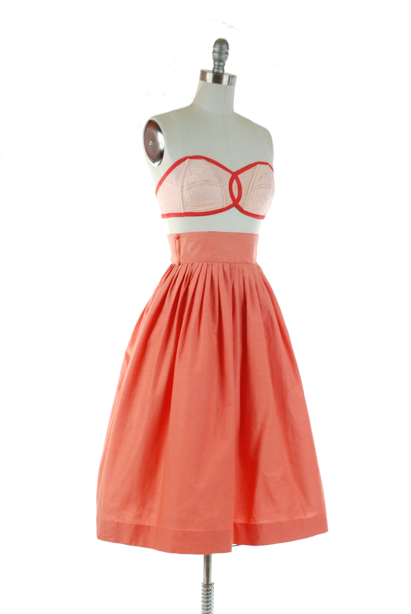 Vintage 1950s Bright Coral Cotton Skirt with Super Wide Waistband