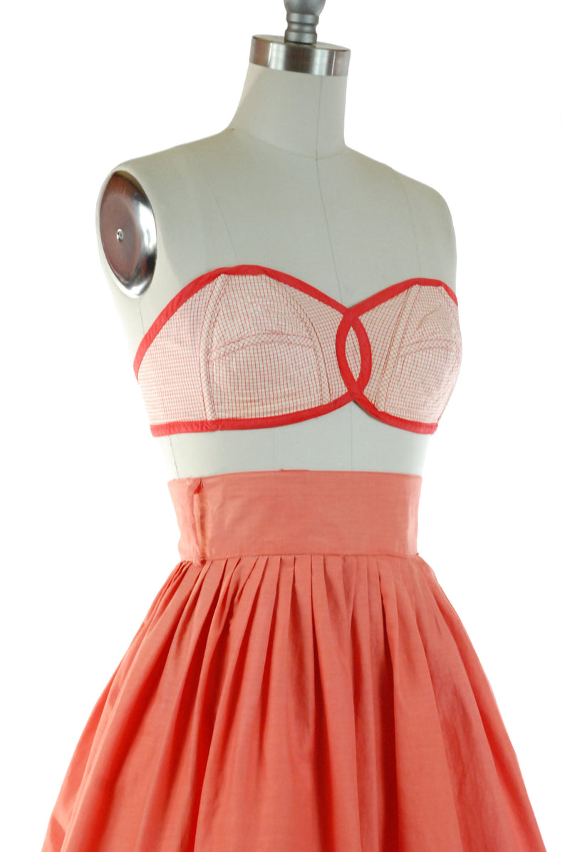 Super Cute 1950s Strapless Cotton Bra Top in Bright Red Check