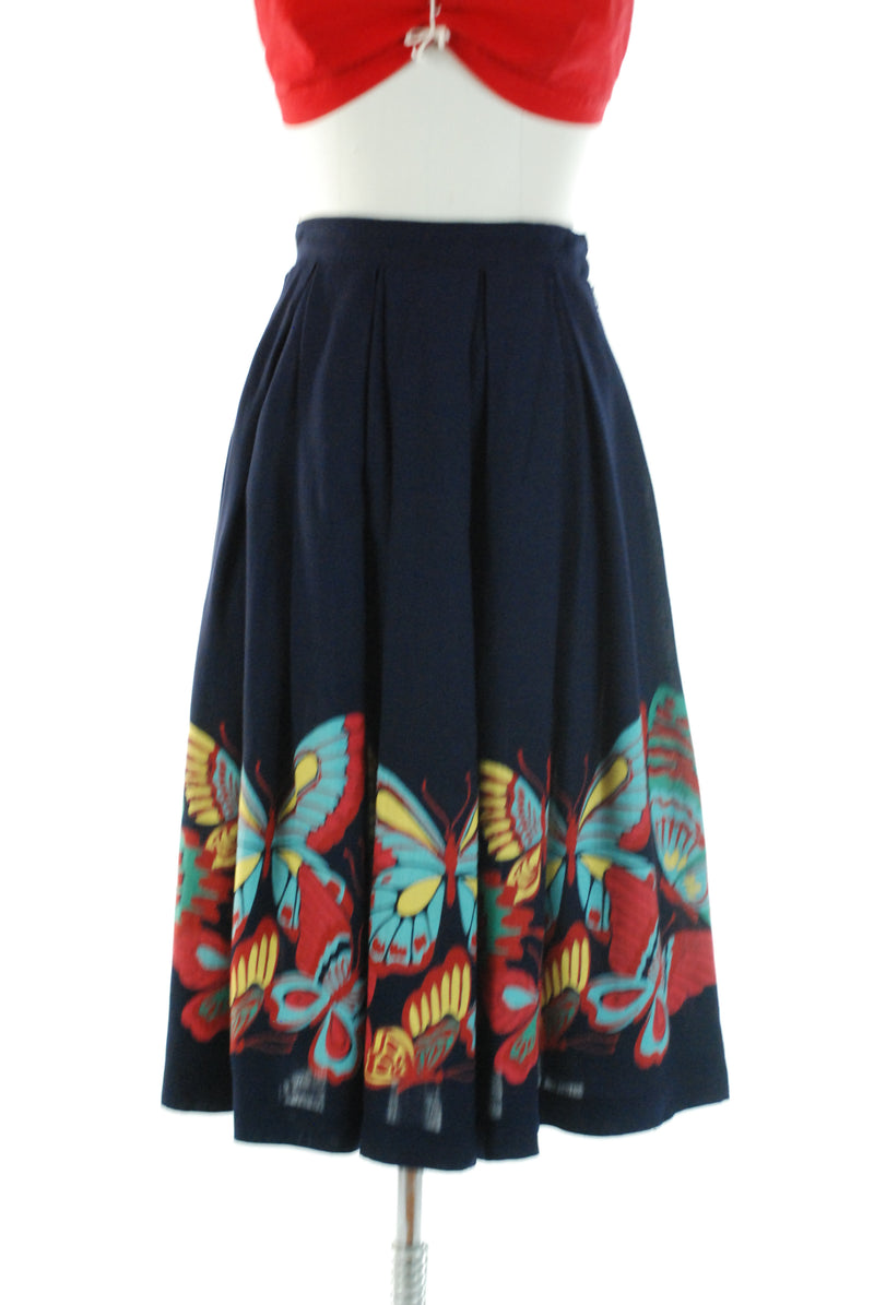 Rare 1940s Butterfly Border Print Novelty Skirt in Navy with Bright Palette