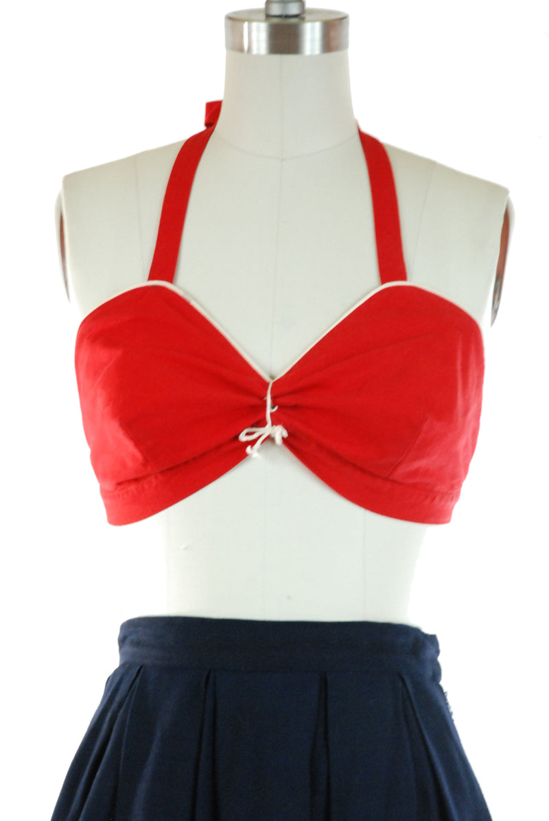 "Rare 1940s ""California Playmates"" Bright Red Sailcloth Bra Style Halter Top"