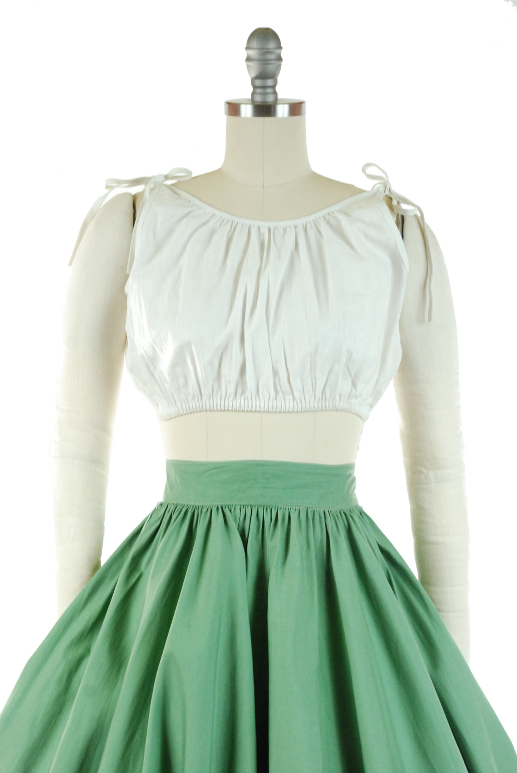 RARE 1950s White Cotton Midriff Style Sleeveless Peasant Top Blouse