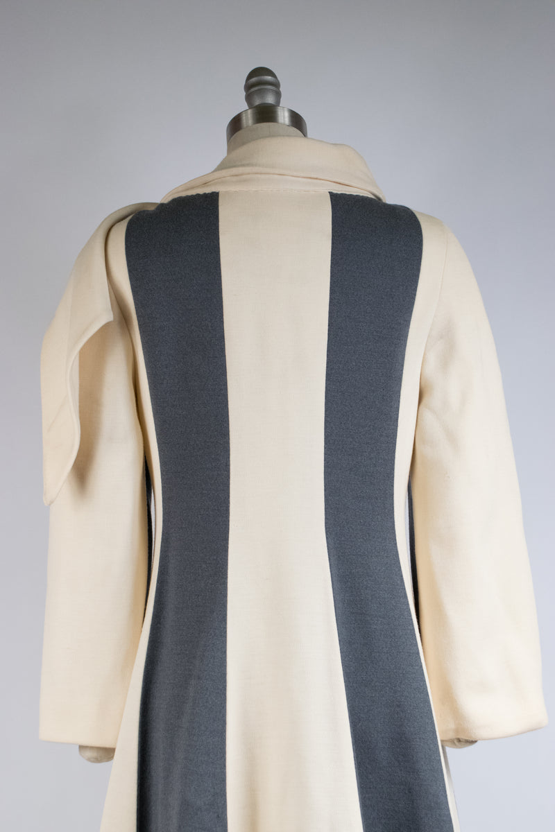Fantastic 1960s Lilli Ann Colorblock Striped Knit Coat with Attached Scarf