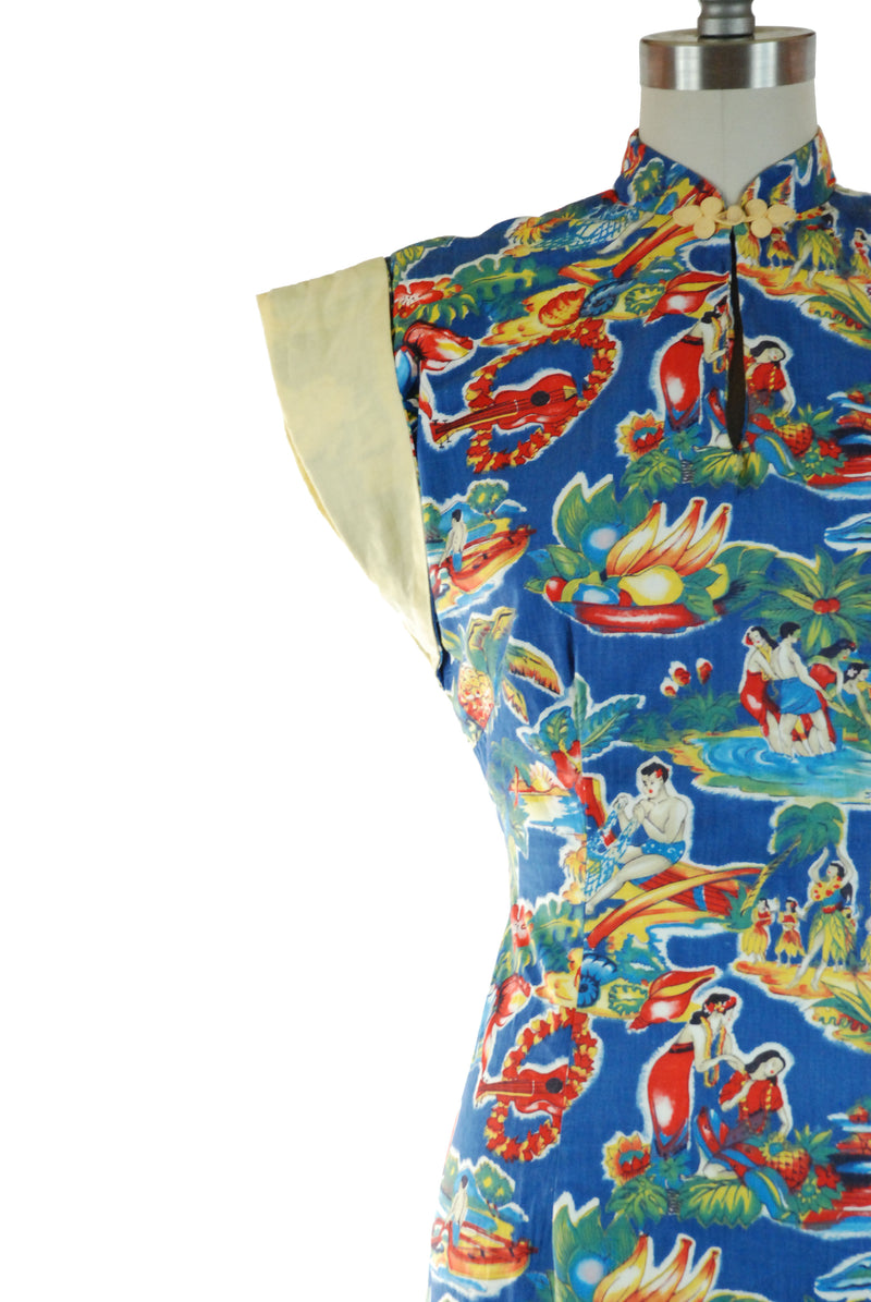 Rare 1950s Hawaiian Cotton Dress with Matching Child's Dress in Novelty People Print