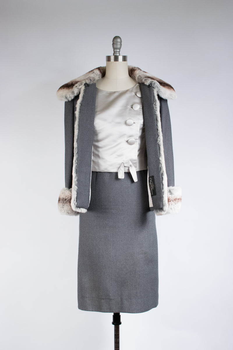 Lush 1960s OLEG CASSINI Three Piece Designer Suit with Rex Chinchilla Fur Trim