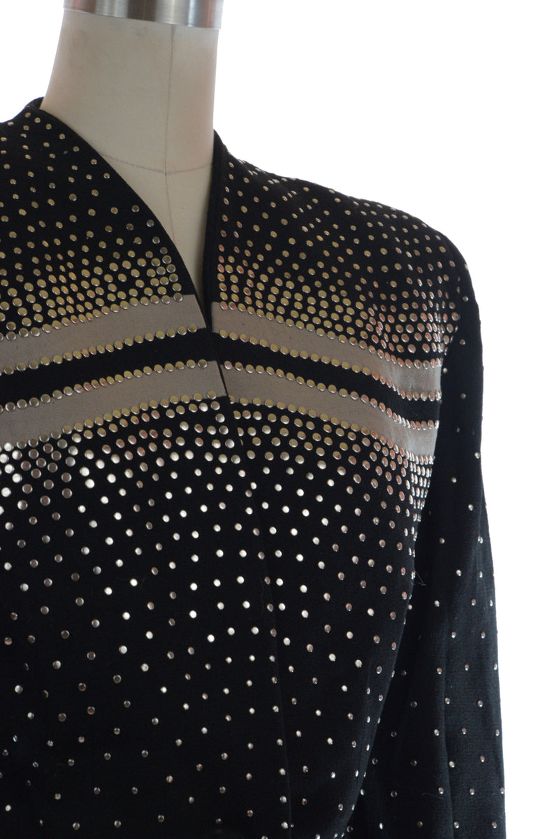 RESERVED on LAYAWAY Rare 1940s Fred Block Studded Suit Jacket with Contrast Colorblock Bands