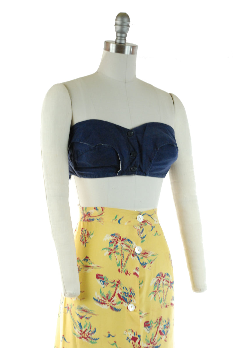 Cute Strapless 1950s Summer Bustier Bra Top in Blue Cotton with Button Front