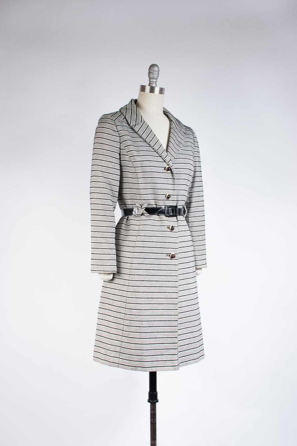 Sassy 1960s Belted Coat in Black and White Stripes