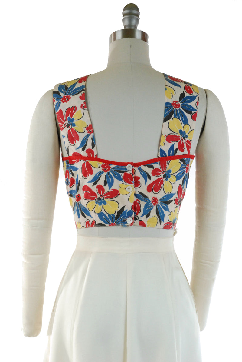 Cute 1940s Sleeveless Cotton Summer Top in Primary Floral