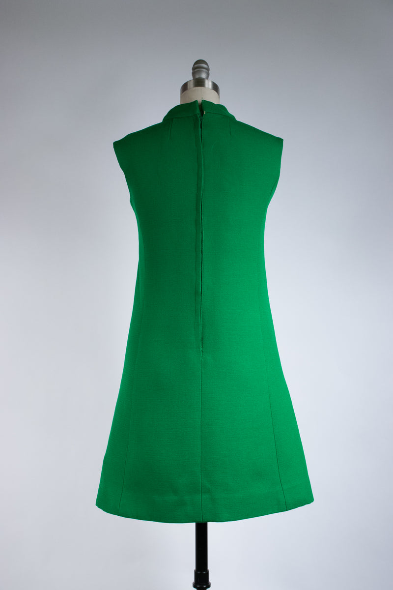 Bold 1960s Kelly Green Mod Dress Set with Jacket