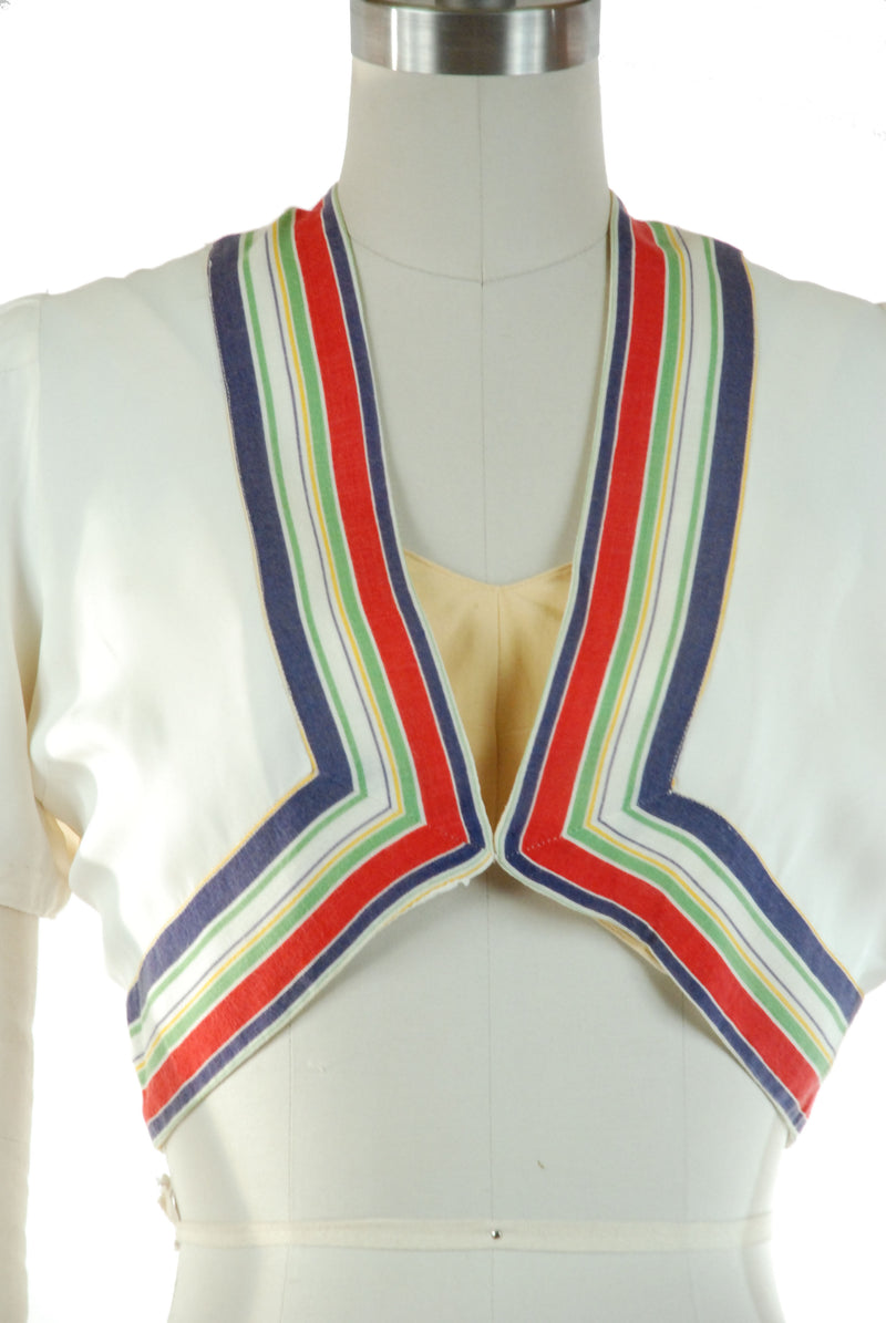 Fantastic Late 1930s Rayon Bolero with Primary Color Rainbow Stripes